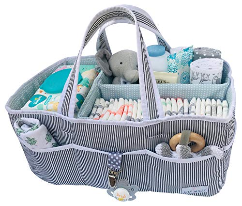 Lily Miles Baby Diaper Caddy - Large Organizer Tote Bag for Infant Boy or Girl - Baby Shower Gift - Nursery Must Haves - Registry Favorites - Collapsible Newborn Caddie for Changing Table Car Travel