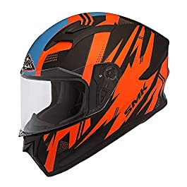 SMK Helmets – Stellar – Trek – Black Orange Blue – Pinlock Anti Fog Lens Fitted Single Clear Visor Full Face Helmet…