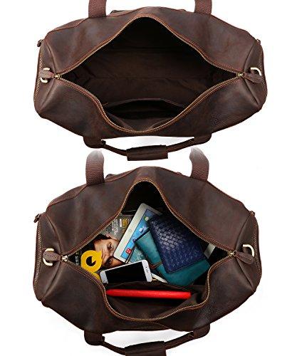 Kattee Retro Leather Duffel Bag Large Overnight Travel Bag by Kattee (Image #5)