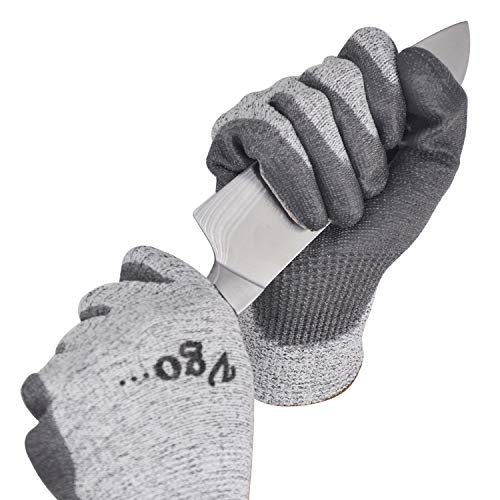 Vgo 2Pairs Level 5 Cut Resistant Gloves EN388 Certified Hand Protection Gloves (Size XL,Grey,SK2131) ()