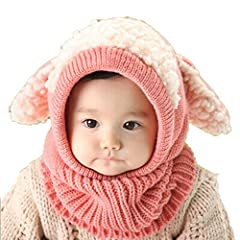 """Feature:    100% brand new and high quality.  Quantity: 1  Winter Warm Coif Hood Scarf Fit For 6 Months to 36 Months Baby Kids  Color: Red,Khaki,Yellow,Blue,Pink  Material: Knitted Woolen  Circumference: 50-60cm/19.69""""-23.63""""  Width:22-24cm/8..."""
