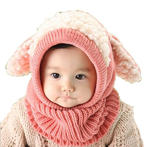 Clearance! Baby Boy Girls Winter Warm Knit Hooded Scarf Hats Toddler Crochet Beanie Caps (Pink)