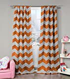 Orange and Grey Chevron Print Insulated Energy Saving Blackout Window Pole Top Curtains 37 inch Wide by 84 Long (Assorted Colors) Set of 2 Panel Room Darkening Drapes For Sale