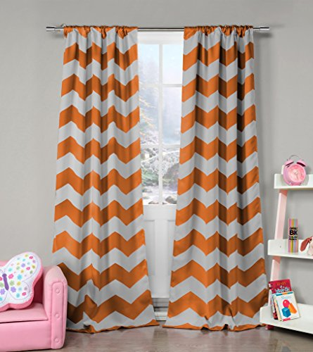 Orange and Grey Chevron Print Insulated Energy Saving Blackout Window Pole Top Curtains 37 inch Wide by 84 Long (Assorted Colors) Set of 2 Panel Room Darkening Drapes - 84 Inch Pole Top Curtain