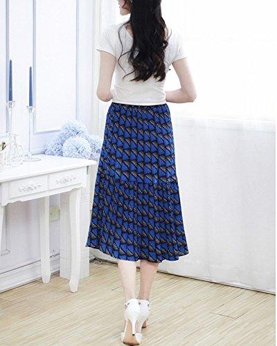 Falda Larga Mujer Verano Hippie Bohemia plisada elástico de la cintura falda Azul