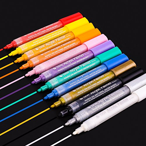Shilor Acrylic Paint Marker Pens - Paint Pens Art Markers Set for Rocks, Wood, Metal, Plastic, Glass, Canvas, Fabric, Ceramics, DIY Craft Projects, Medium Point, 12 Assorted and Metallic Colors