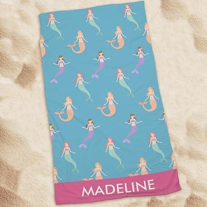 """Personalizado de sirenas toalla de playa, 30 """"X 55,"""" piscina"""