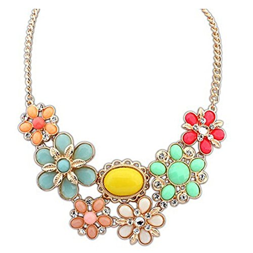 LovelyCharms Flower Statement Necklaces Holiday Floral Chunky Pendant ()