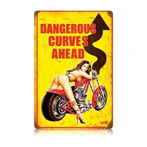 Metal Sign Great Aluminum Tin Sign Stylish Vintage Motorcycle Pin Up Girl Man Cave. 8 X 12 Inch