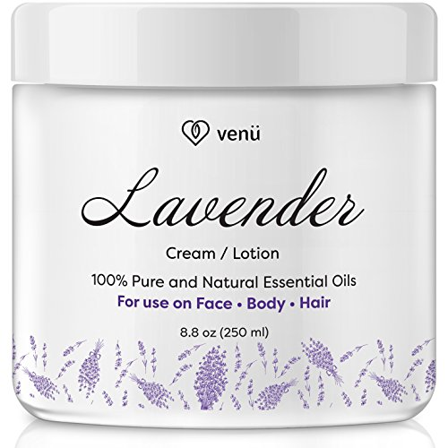 Essential Moisturizing Cream - Lavender Essential Oil Lotion – Daily Moisturizing Cream for Face, Body and Hair – All Natural – Disinfects, Boosts Circulation, Relieves Pain – For All Skin Types – by Venu