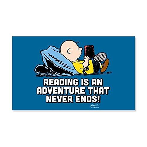CafePress - Charlie Brown - Reading Is An Adv - 20x12 Wall Decal, Vinyl Wall Peel, Reusable Wall (Peanuts Gang Names)