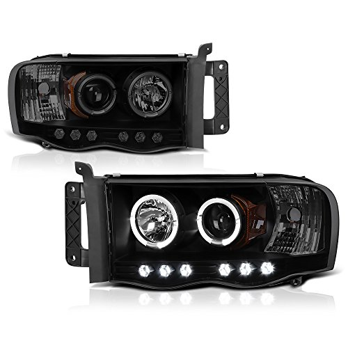 VIPMOTOZ LED Halo Ring Projector Headlights For 2002-2005 Dodge RAM 1500 2500 3500 - Matte Black Housing, Smoke Lens, Driver and Passenger Side ()