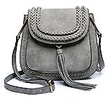 Classic Women Shoulder Bag Luxury Brands Knitting Suede Leather Big Saddle Bag Vintage Female Cover Crossbody Handbags (gray)