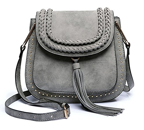 Classic Women Shoulder Bag Luxury Brands Knitting Suede Leather Big Saddle Bag Vintage Female Cover Crossbody Handbags (gray)