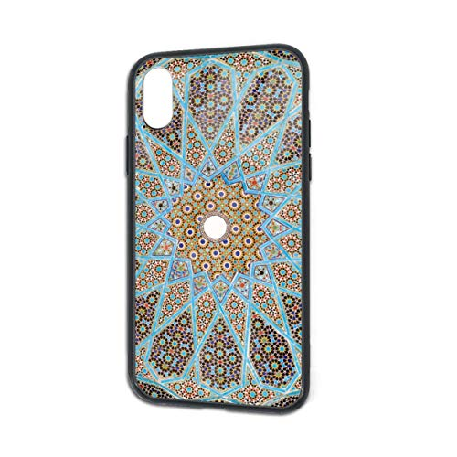 HengZhe iPhone Xs/X Case Geometry Flora Pattern TPU Ultra-Thin Slim Soft Silicone Cover Tempered Glass Back Cover Anti-Fall Protection 5.8 Inch -