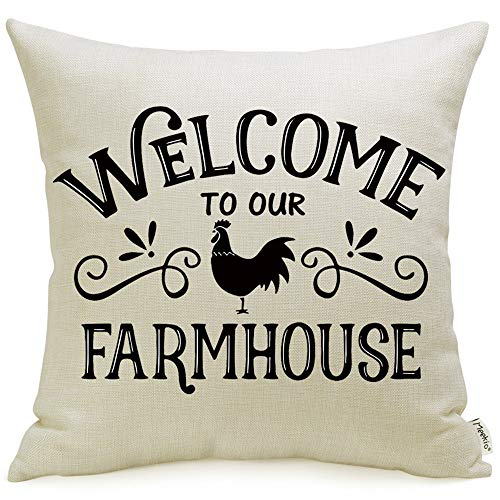 Meekio Farmhouse Pillow Covers with Welcome to Our Farmhouse Rooster Print 18 x 18 Inch for Farmhouse Décor Housewarming Gifts