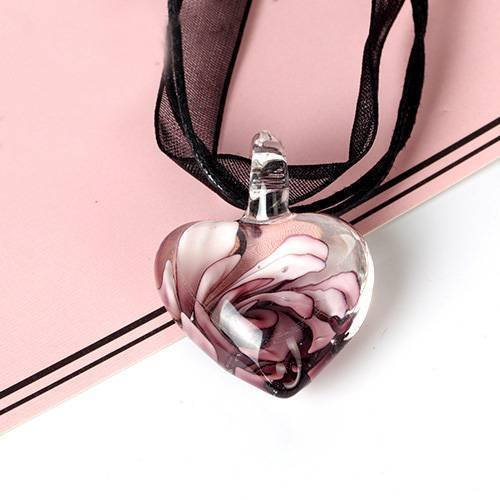 Phonphisai shop Murano Glass Heart Spiral Flower Inlaid Pendant 28mm Ribbon Necklace Jewelry Color purple