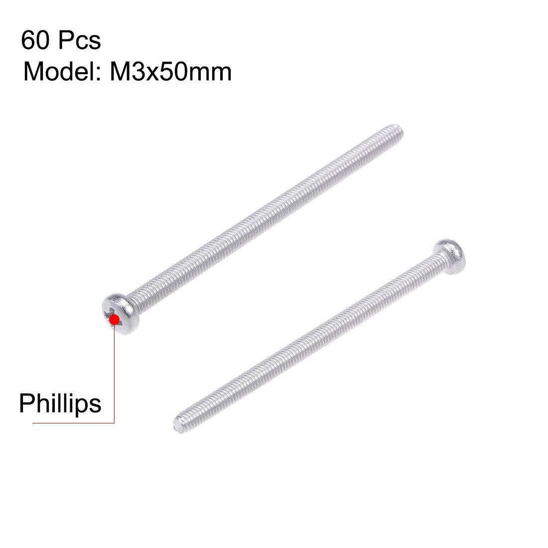 sourcing map M3x60mm Vis m/étaux cylindrique Phillips T/ête croix Vis fixation boulon 30Pcs