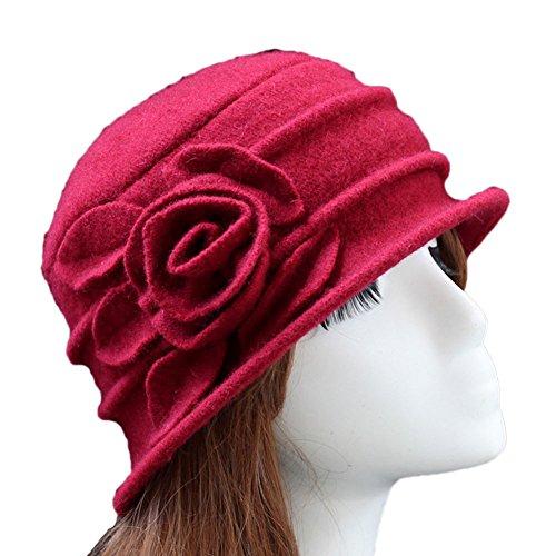 Ealafee Ladies 100% Wool Felt Top Hat Winter Vintage Billycock Fedora Warm Hats