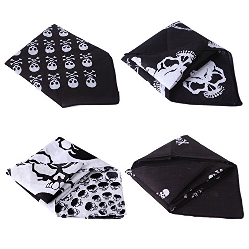 HDE 4-Pack Bandana Flaming Skull Motorcycle Biker Handkerchief Head Wrap Doo Rag (Skull and Crossbones -