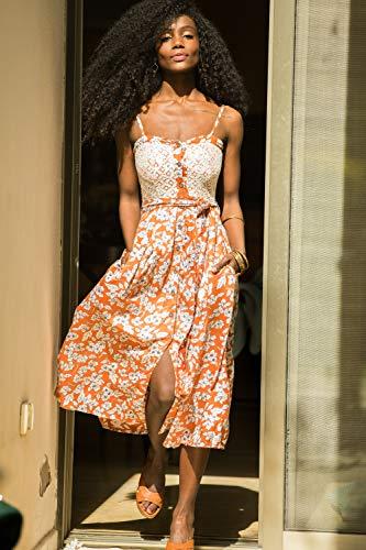 Burnt Orange High Waist Floral Summer Dress, Rayon and Lace Midi Dress, Bohemian