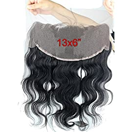 Dreambeauty Top Grade 100% Human Hair Brazilian Virgin Hair Lace Frontal Closure 13X6″ Body Wave Nautral color density 130% Bleached knots 10inch