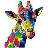 لوحة فنية جدارية تجريدية من القماش مطبوع عليها صورة زرافة حيوانات بواسطة أرقام