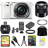 Sony Alpha a6000 White Camera with 16-50mm and 50mm Lenses 64GB Bundle - Includes Camera with Lens, Second Lens, Memory Card, Carrying Case, 2 filters, Battery, Battery Charger, Card Reader and More
