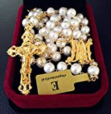 elegantmedical Handmade Catholic GLOD 8MM Real Pearl Pearl Beads Necklace 5 Decade Rosary & Cross Crucifix Box