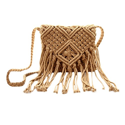 Van Caro Women Crochet Beach Bag Fringed Bohemian Crossbody Shoulder Purse Cotton Pouch (Brown)