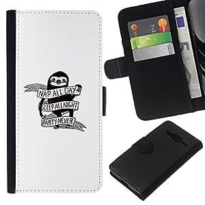 All Phone Most Case / Oferta Especial Cáscara Funda de cuero Monedero Cubierta de proteccion Caso / Wallet Case for Samsung Galaxy Core Prime // Nap All Day - Funny Sloth