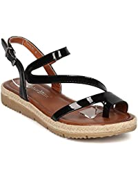 Women's Adjustable Ankle-Strap Toe Ring Espadrilles Flats Beach Shoes Gladiator Sandals