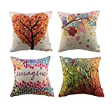 Decorative Pillow Cover - HOSL 4 Pack Cotton Linen Pillow Case Decorative Cushion Cover, Set of 4 (NO Pillow)