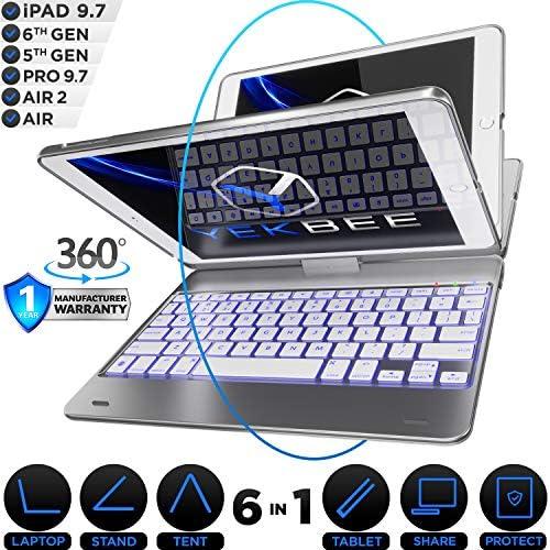 [해외]Universal PC Keyboard PS2 QWERTY 검정 / iPad Keyboard Case for iPad 2018 (6th Gen) - iPad 2017 (5th Gen) - iPad Pro 9.7 - iPad Air 2 & 1 - Thin & Light - 360 Rotatable - WirelessBT - Backlit 10 Color - iPad CaseKeyboard (Silver)