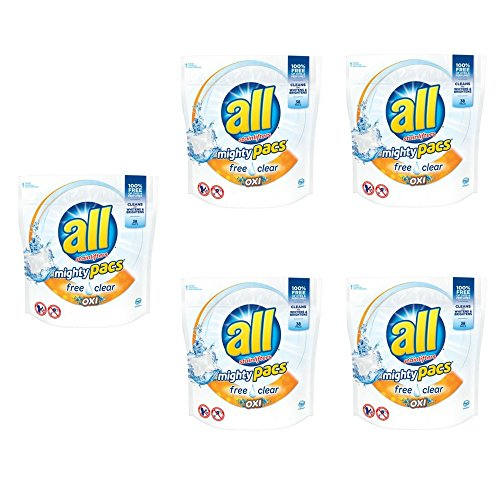 all Mighty Pacs Laundry Detergent with OXI Stain Removers and Whiteners, 38 Count (5 pack) by All