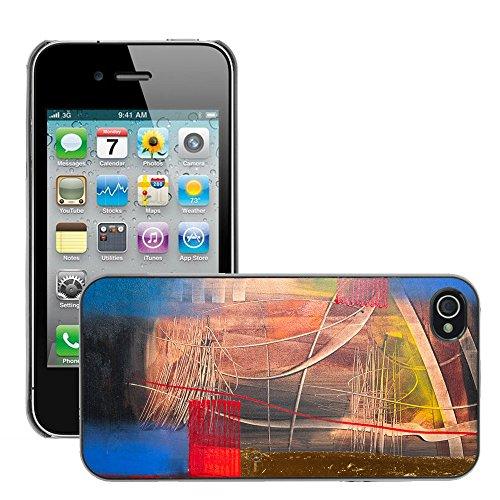 Premio Sottile Slim Cassa Custodia Case Cover Shell // V00001926 Peinture abstraite // Apple iPhone 4 4S 4G