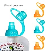 ChooMee SoftSip Food Pouch Tops | 100% Silicone | Orange Aqua | 4 CT