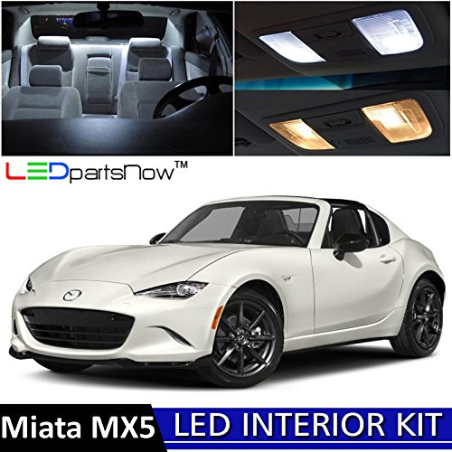 8 Mazda MX-5 Miata LED Interior Lights Accessories Replacement Package Kit (6 Pieces), WHITE (Mazda Miata Interior)