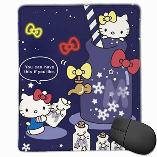 Cute Hello Kitty Mouse Pad, Non-Slip Rubber Base Gaming Mouse Pad with Locking Edge- 9.8