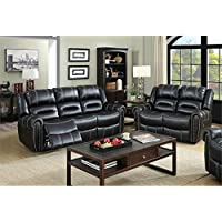 Furniture of America Stinson 2 Piece Leatherette Reclining Sofa Set in Black
