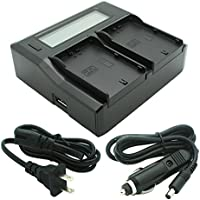 Kapaxen Dual Channel LCD Charger for JVC SSL-JVC50, SSL-JVC70, and SSL-JVC75 Batteries