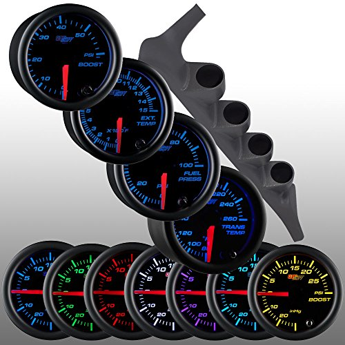 GlowShift Diesel Gauge Package for 1992-1997 Ford F-Series F-250 F-350 - Black 7 Color 60 PSI Boost, 1500 F Pyrometer EGT, Transmission Temp & 100 PSI Fuel Pressure Gauges - Gray Quad Pillar Pod