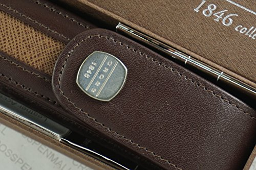 Cross 1846 Genuine Italian Leather with Contrasting Stitching and Magnetic Flip Top Single Pouch Pen Case in Gift Box , Brown with Milk Brown Color Detailing