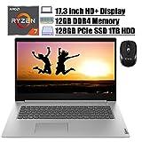 "2020 Flagship Lenovo IdeaPad 3 17 Laptop 17.3""HD+ Display AMD Quad-Core Ryzen 7 3700U (> i7-7500U) 12GB DDR4 128GB PCIe SSD 1TB HDD AMD Radeon Vega 10 HDMI FP WIFI Dolby Win 10 + iCarp Wireless Mouse"