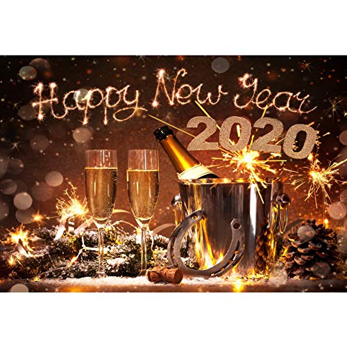 New Years Backdrops (Laeacco 7x5FT Vinyl Backdrop New Years Eve Celebration Photography Background 2020 Happy New Year Champagne Bottles Bucket Horseshoe Lucky Charm Festival Background Bokeh Snowflakes)
