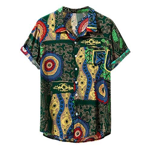 Vowes Mens Short Sleeve Tops Loose Vintage Ethnic Printed T-Shirt Turn Down Collar Shirt Casual Beach Hawaiian Shirt Beachwear Blouse