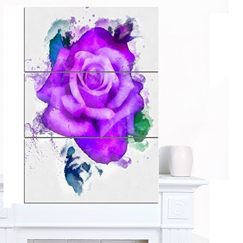 - Hand-Made Purple Rose Watercolor - Floral Glossy Metal Wall Art,Purple