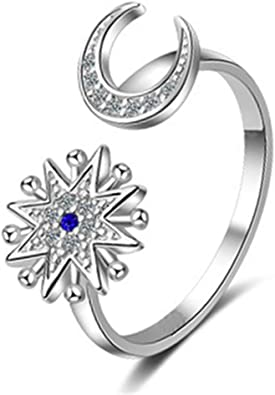 Sterling Silver Crystal Moon Ring