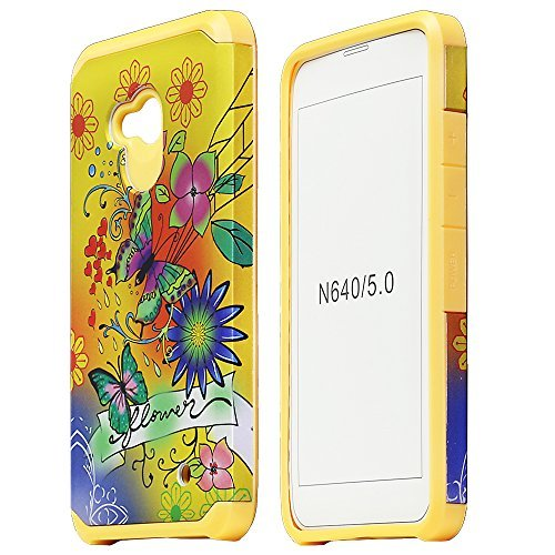 For Nokia/ AT&T GoPhone Microsoft Lumia 640 / 2 items Combo: Stylus Pen + Dual Layer Impact Resistance Shockproof Hybrid Armor Case (Yellow Butterfly Flower)