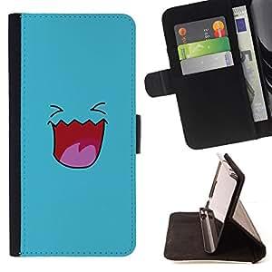 KingStore/funda de piel sintética para Samsung Galaxy A3 // azules cara sonriente